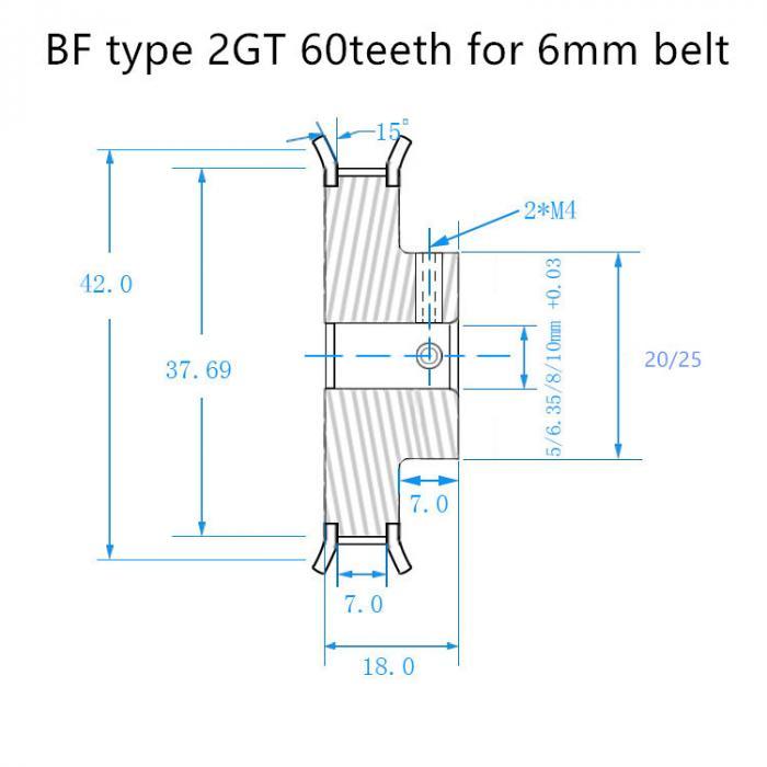 Шкив зубчатый GT2 60 зубьев, 5мм для ремня 6мм