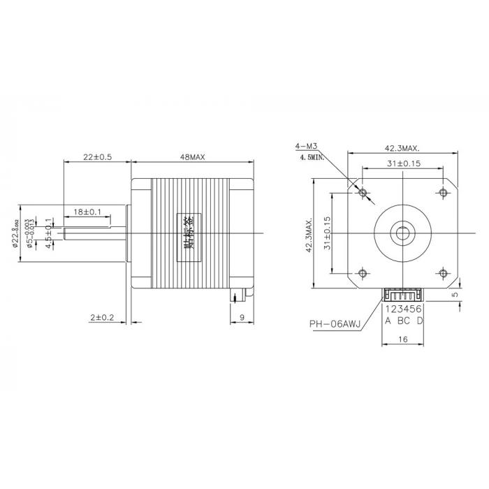 Шаговый двигатель NEMA17 17HS8401S / 17HS8401 1.7А