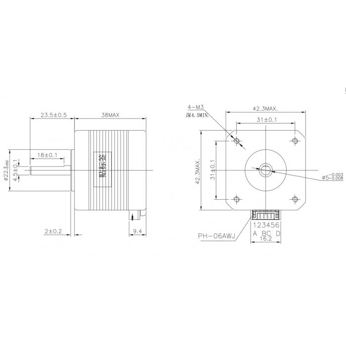 Шаговый двигатель NEMA17 17HS4401S / 17HS4401 1.5А