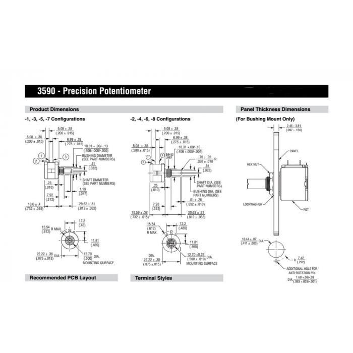 Потенциометр прецизионный многооборотный 3590S