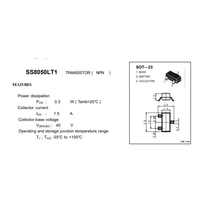 Транзистор J3Y SMD NPN SOT-23 (S8050)