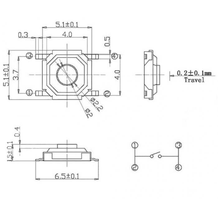 Кнопка тактовая SMD TS-1252, H1.5 / 2