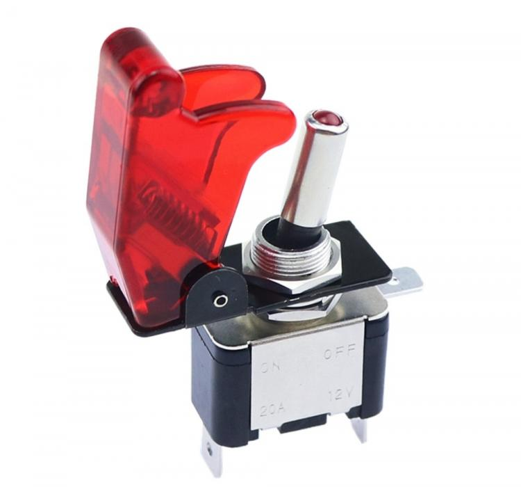 Кнопка тумблер с защитным колпачком и подсветкой