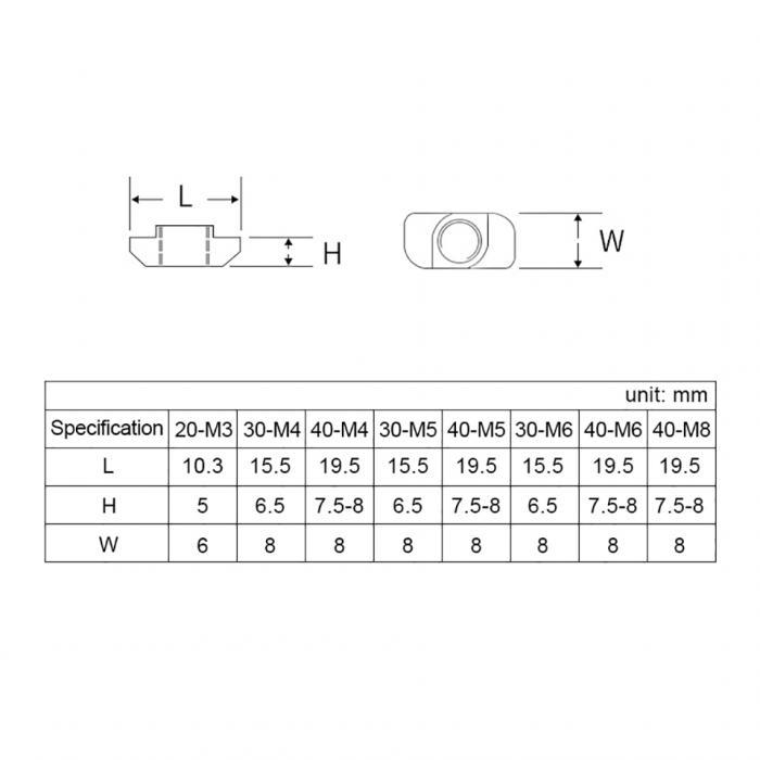 Гайка Т-образная под профиль 2020 паз 6 М3/М4/М5